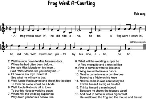 Frog Went A-Courtin' - Beth's Notes