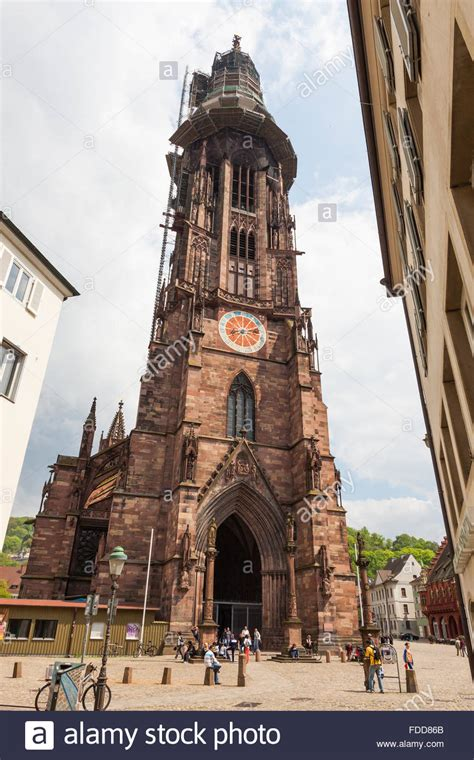 Exterior of Freiburg Munster cathedral, a medieval church