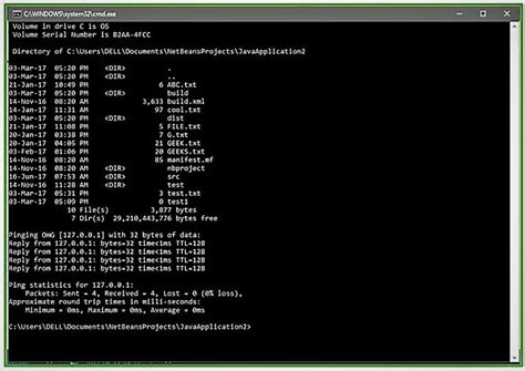 Java Program to open the command prompt and insert