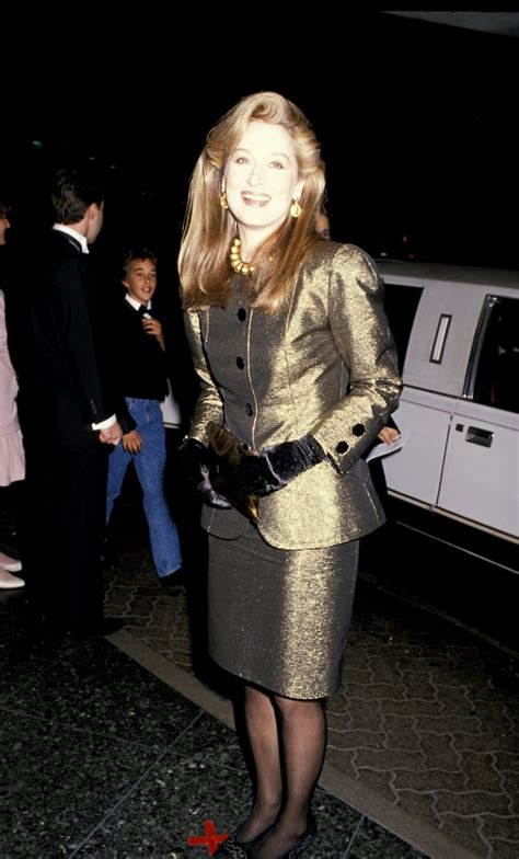 Meryl wore a metallic gold suit with velvet gloves to the