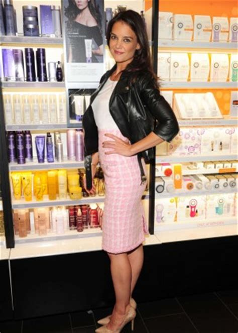 Katie Holmes in Leather Jacket and Pink Skirt -08 | GotCeleb
