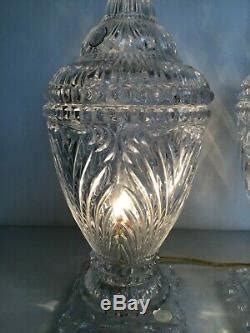 Pair Crystal Lamps Clear Heavy Cut Glass Vanity Table