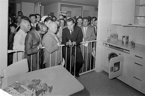 Nixon and Khrushchev stage 'kitchen debate' in Moscow