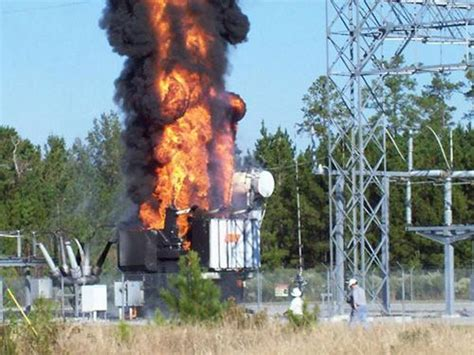 Flames shoot high out of a Georgia Power substation