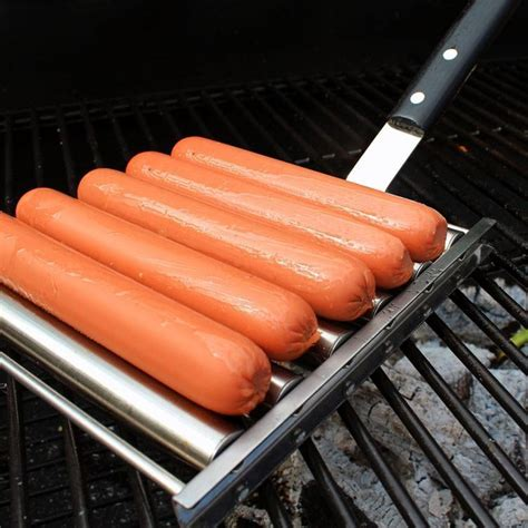 New Barbecue Tools 6 Stick Stainless Steel Hot Dog Roller