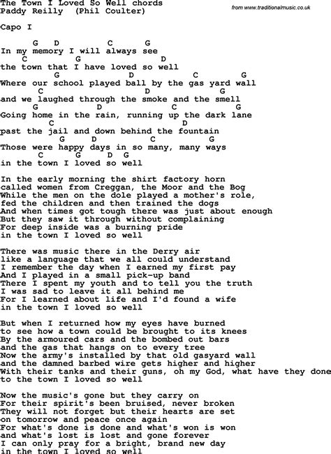 Song lyrics with guitar chords for The Town I Loved So Well