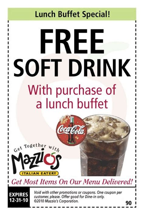 Mazzios Coupons: Mazzios Lunch Buffet Free Drink